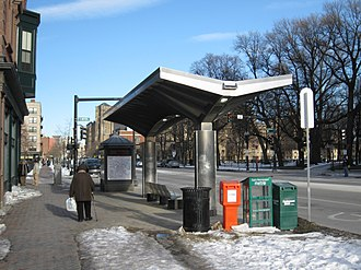 Silver Line (MBTA) - Silver line bus shelter on Washington Street.