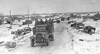 Nikopol–Krivoi Rog Offensive - A Soviet truck loaded with Red Army soldiers passing through Nikopol