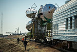 Soyuz TMA-09M spacecraft roll out by train 8.jpg