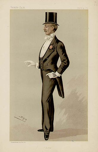 Tailcoat - Caricature of Mr John Delacour (19th century) wearing dress coat with top hat for white tie.