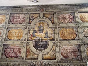 Saint Emmeram's Abbey - Painted wooden ceiling depicting Saint Benedict of Nursia.