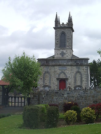 Ardagh, County Longford - Western elevation and lychgate of the church of St Patrick (Church of Ireland). June 2013