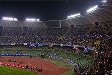 Scotland fans at the Stadio San Nicola in Bari for a UEFA Euro 2008 qualifying match against Italy. Stadio San Nicola.jpg