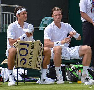 Sam Groth - Groth with Sergiy Stakhovsky at the 2015 Wimbledon Championships.