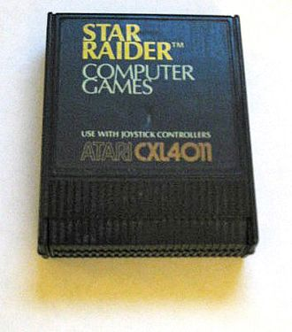 ROM cartridge - A Star Raiders read-only memory (ROM) cartridge for an Atari computer.