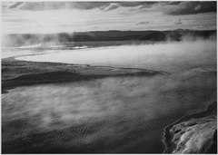 "Steaming pool in foreground, high horizon, ""Fountain Geyser Pool, Yellowstone National Park,"" Wyoming., 1933 - 1942 - NARA - 520007.tif"
