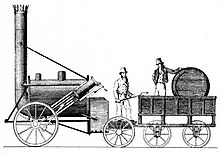 Cylindrical railway locomotive, with a very tall pipe at one end and a barrel-shaped tender at the other.