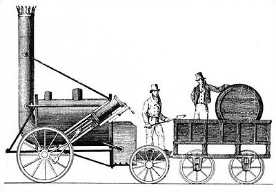 Plan de la locomotive de Stephenson (la &quotRocket&quot ou &quotfusée&quot) de 1829 - Révolution industrielle