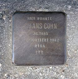 Photo of Hans Cohn brass plaque