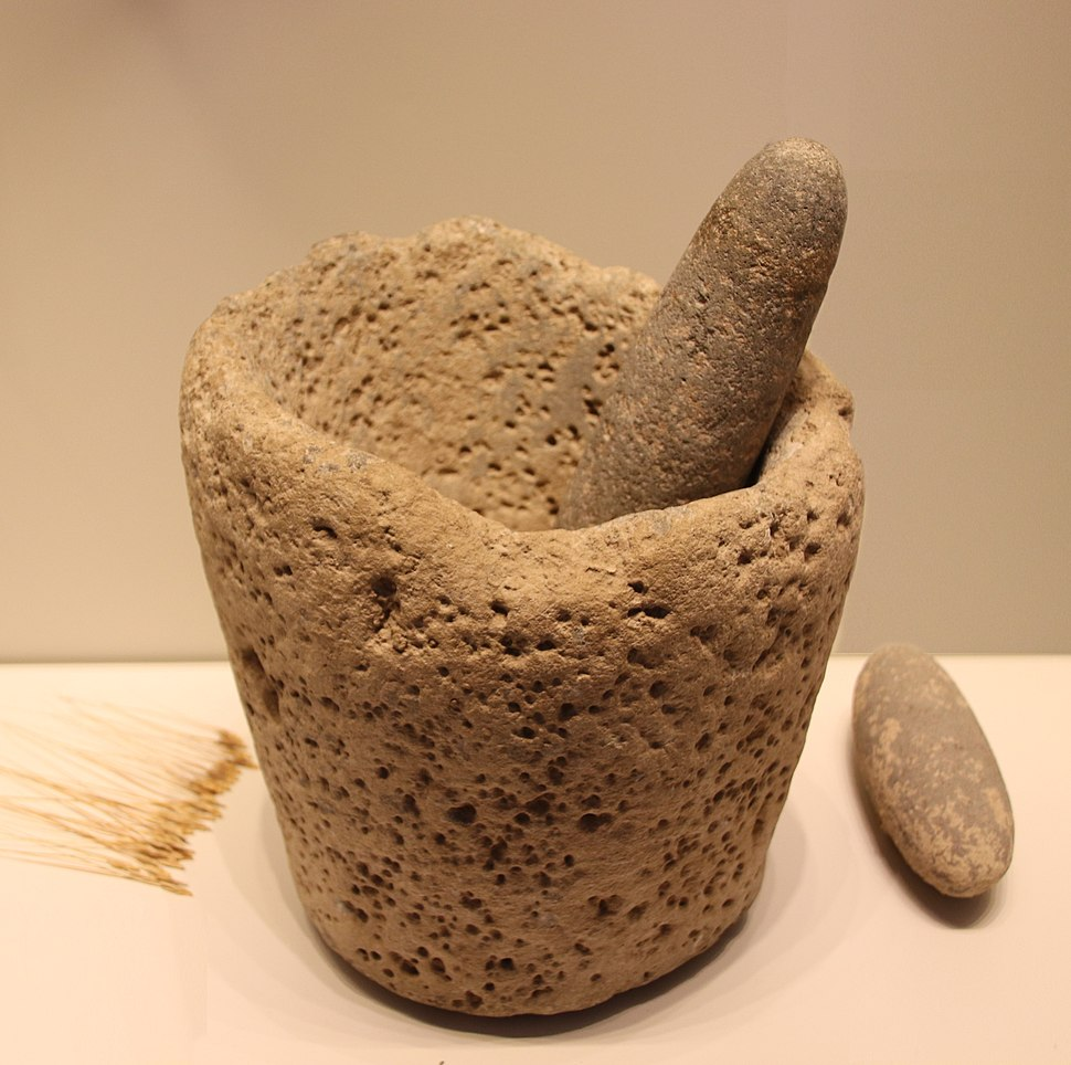 Stone Age Stone Mortar & Pestle, Kebaran culture, 22000-18000 BP
