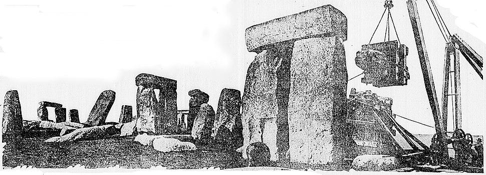 Stone Henge 1920 restoration - newspaperphoto