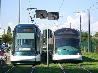 Trams in France - Citadis (left) and Eurotram (right) cars in Strasbourg