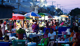 Street food - A whole street was taken up by street food vendors during the Yasothon Rocket Festival in Thailand.