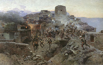 Caucasian War - Image: Sturm aul Gimry 1891