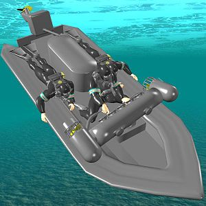 Siebe Gorman CDBA - Computer-generated image of three frogmen riding a Subskimmer underwater. Their breathing sets are the Siebe Gorman CDBA.