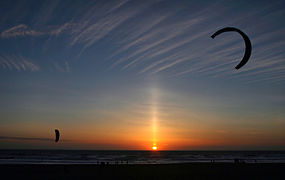 Sun pillar and kitesurfers