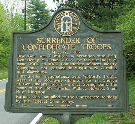 Historical marker at Kingston, Georgia Surrender Confederate forces North Georgia plaque.JPG
