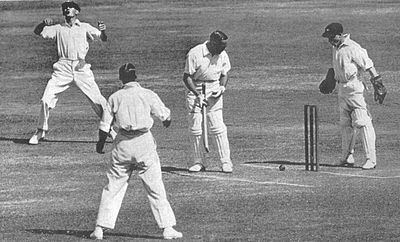 A ball from Bill O'Reilly hits the stumps but does not dislodge the bail, Sydney, 1932. The wicket was not put down, and so the batsman (Herbert Sutcliffe) was not out. Sutcliffe - bail stays put.jpg
