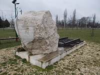 Swabian memorial stone. Ship and rail. - Nagytétény, Budapest.JPG