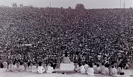 Swami Satchidananda giving the opening talk at the Woodstock Festival of 1969 Swami opening.jpg