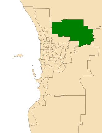 Electoral district of Swan Hills - Location of Swan Hills (dark green) in the Perth metropolitan area
