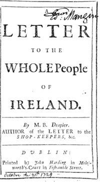 "A document reads ""Letter to the Whole People of Ireland."" At the bottom is the same signature and printer as before."