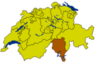 Map of Switzerland highlighting the Canton of Ticino