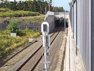 Olympic Park railway line - The single track balloon loop towards Lidcombe as it passes under the Olympic Boulevard.