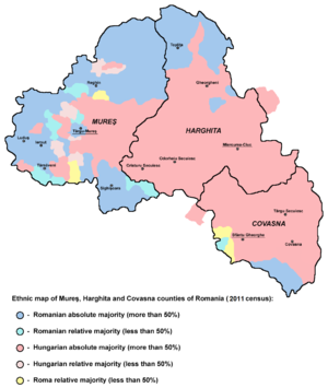 ethnic map of harghita covasna and mure counties based on the 2011 data showing localities with hungarian majority or plurality