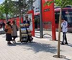 Témoins de Jéovah Place de Francfort (Lyon) et le Rhône Express au second plan.jpg