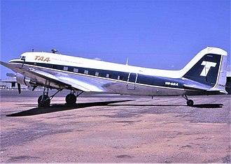 Trans Australia Airlines - TAA Douglas DC-3 at Brisbane Airport, early 1970s