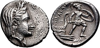 Protesilaus - Coinage of Thebai, Thessaly. Veiled head of Demeter, wearing wreath of grain ears / ΘHBAIΩИ, Protesilaos, wearing armor and short chiton, holding sword in right hand and shield in left, stepping off the prow of a galley; waves visible to the lower right. Early 3rd century BC