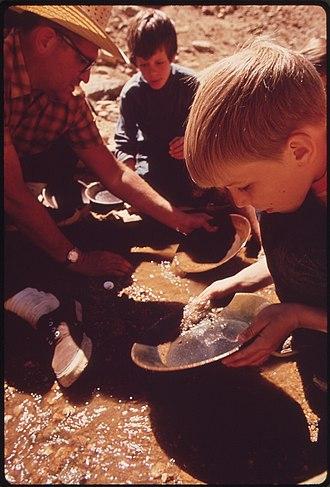 Prospecting - Schoolchildren learn to pan for gold, Denver, 1972