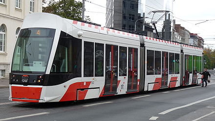 A CAF tram operating in Tallinn TTTK 502 in Parnu highway.JPG