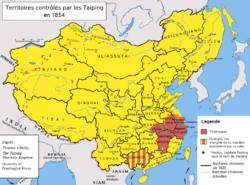 Greatest extent (maroon) of the Taiping Heavenly Kingdom.
