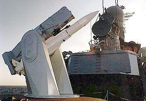 Mark 13 missile launcher - A RIM-66 Standard missile mounted on the Mark 13 missile launcher aboard the French Navy frigate ''Cassard''
