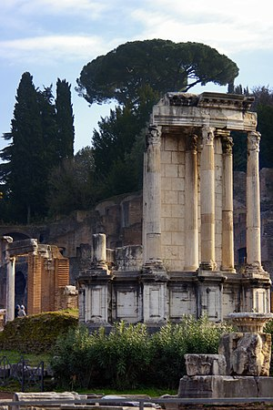 Vestal Virgin - The most prominent feature of the ruins that were once the Temple of Vesta is the hearth (seen here in the foreground).