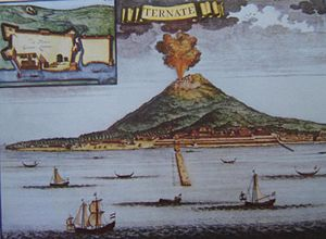 Maluku Islands - Drawing of Ternate by a presumably Dutch artist. Inset shows Saint John Baptist Portuguese-built fort on the island