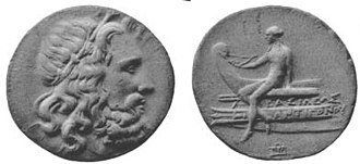 "Antigonus II Gonatas - Coin of Antigonus II Gonatas. The Greek inscription reads ""ΒΑΣΙΛΕΩΣ ΑΝΤΙΓΟΝΟΥ"" meaning ""of king Antigonus""."