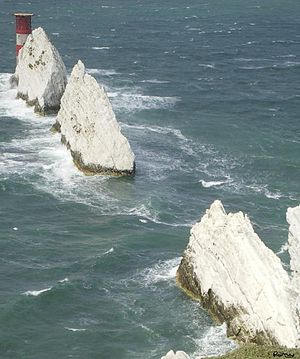 The Needles - The Needles from the cliffs inshore at The Needles Battery showing the Needles Lighthouse