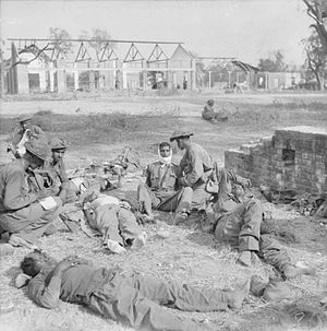 19th Infantry Division (India) - Casualties of 19th Indian Division being treated in Mandalay, March 1945.