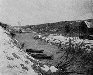 """Edward Willis Redfield - Black-and-white reproduction of """"The Canal, Evening"""" by Edward Willis Redfield."""