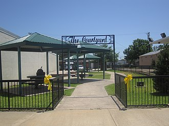 "Centerville, Texas - ""The Courtyard"" across from the Leon County Courthouse in Centerville"
