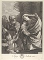 The Flight into Egypt; the Holy Family walking together, Saint Joseph pointing to the left and the Virgin carrying the infant Christ, an angel in front of her offering a flower, after Reni MET DP841322.jpg