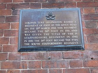 38th (1st Staffordshire) Regiment of Foot - Plaque outside The King's Head in Lichfield commemorating the founding of the regiment in March 1705