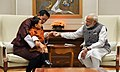 The King of Bhutan, His Majesty Jigme Khesar Namgyel Wangchuck and Crown Prince meeting the Prime Minister, Shri Narendra Modi, at 7, Lok Kalyan Marg, in New Delhi on November 01, 2017.jpg