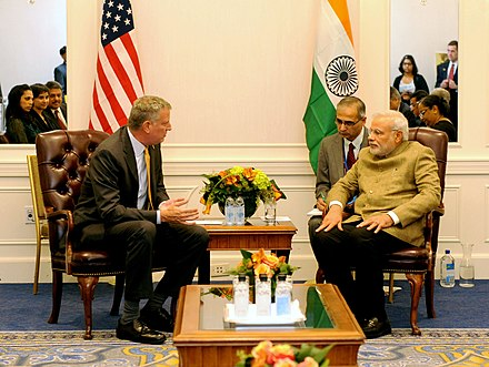 De Blasio and Indian Prime Minister Narendra Modi in New York on September 26, 2014 The Prime Minister, Shri Narendra Modi meeting the Mayor of New York, Mr. Bill de Blasio, in New York on September 26, 2014.jpg