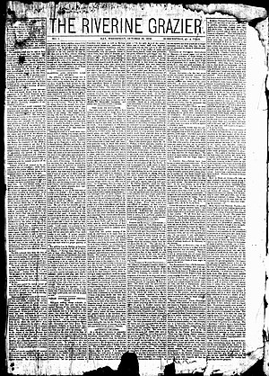 The Riverine Grazier - First issue of The Riverine Grazier, 29 October 1873