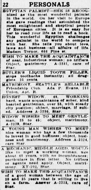 Personal advertisement - The personals section in the January 13, 1914 issue of The Seattle Star