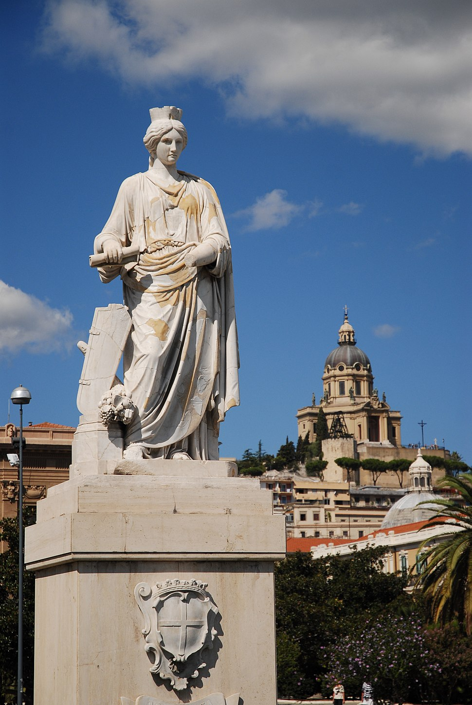 The Statue of Messina (Dedicated to Ferdinand II of Bourbon, by sculptor G. Prinzi). Messina, Island of Sicily, Italy, Southern Europe